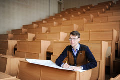 The student in a big class prepares for examination Stock Photography