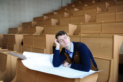 The student in a big class prepares for examination Royalty Free Stock Image