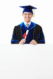 A student with billboards Stock Photo