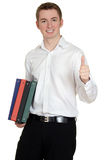 Student with binders giving thumbs up. Isolated student with binders giving thumbs up Royalty Free Stock Image