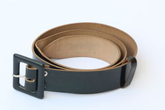 Student Black Belt Isolated. Isolated, Leather Black Belt for Student or Men Royalty Free Stock Images