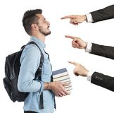 Student blamed unfairly. Student to university blamed unfairly by teachers Stock Image
