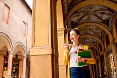 Student in Bologna city Royalty Free Stock Photos
