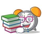 Student with book alarm clock mascot cartoon. Vector illustration vector illustration
