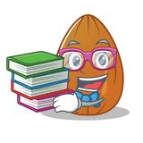 Student with book almond nut character cartoon Royalty Free Stock Image