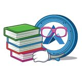 Student with book Ardor coin mascot cartoon. Vector illustration Stock Images
