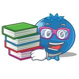 Student with book blueberry character cartoon style Стоковые Изображения