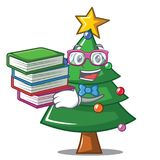 Student with book Christmas tree character cartoon. Vector illustration Royalty Free Stock Images