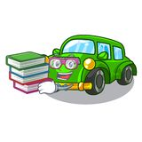 Student with book classic car toys in cartoon shape. Vector illustration royalty free illustration