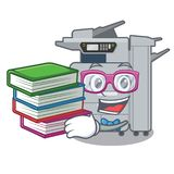 Student with book copier machine next to character chair. Vector illustration stock illustration