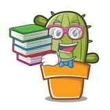 Student with book cute cactus character cartoon Royalty Free Stock Photos