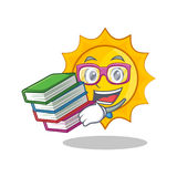 Student with book cute sun character cartoon. Vector illustration Royalty Free Stock Photos