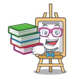Student with book easel mascot cartoon style. Vector illustration stock illustration
