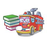 Student with book fire truck mascot cartoon. Vector illustration Royalty Free Stock Photo