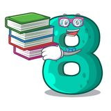 Student with book number eight volume logo the mascot. Vector illustration royalty free illustration