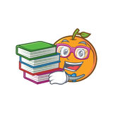Student with book orange fruit cartoon character Royalty Free Stock Image
