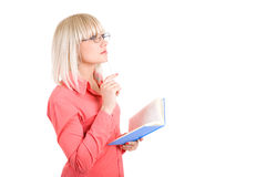 Student with book and pen Royalty Free Stock Photography