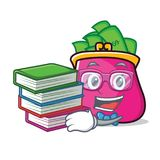 Student with book purse character cartoon style. Vector illustration Stock Images