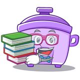Student with book rice cooker character cartoon. Vector Royalty Free Stock Image