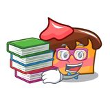 Student with book sponge cake mascot cartoon. Vector illustration Royalty Free Stock Images