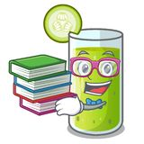 Student with book sweet cucumber juice isolated on mascot royalty free illustration