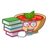 Student with book tomato soup character cartoon. Vector illustration Stock Image