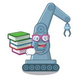 Student with book toy mechatronic robot arm cartoon shape. Vector illustration vector illustration