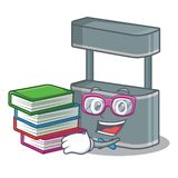 Student with book toy trade stand on a mascot. Vector illustration royalty free illustration
