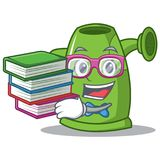 Student with book watering can character cartoon Stock Photos