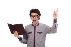 Student with book on white Stock Photo