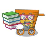 Student with book wooden trolley mascot cartoon. Vector illustration vector illustration