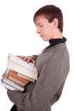 Student with books. Young student with books  on white background Royalty Free Stock Image