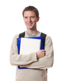 Student with books. Smiling attractive student carrying school books isolated on white background Stock Image