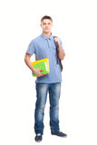 Student with books and backpack isolated on white Royalty Free Stock Images