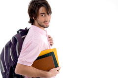 Student with books and bag Royalty Free Stock Photography