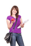 Student with books, bag and apple Royalty Free Stock Images