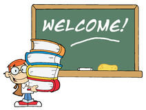 Student With Books In Front Of School Chalk Board. With Text Welcome vector illustration
