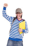 Student with books isolated Stock Images