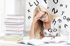 Student with books and notes Stock Photography