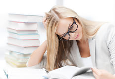 Student with books and notes Royalty Free Stock Photography