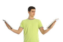 student with books and pad Stock Photography