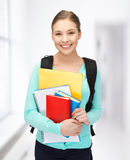 Student with books and schoolbag. Bright picture of smiling student with books and schoolbag Stock Photos
