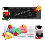 Student with books. Set of two horizontal advertising banners Stock Photo
