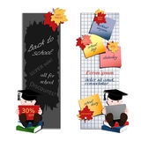 Student with books. Set of two vertical advertising banners Stock Images