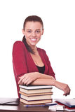 Student with books on table Royalty Free Stock Image