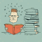 Student and books.Vector man tired of reading and  Royalty Free Stock Photography