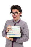 Student with books on white Royalty Free Stock Photography