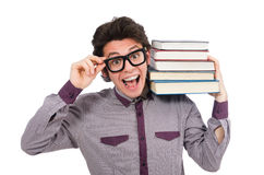 Student with books on white Royalty Free Stock Image