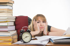 Student bored and tired of doing preparation for exams Stock Image