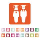 The student boy and girl icon. School, academy, college, education symbol. Flat Stock Photography